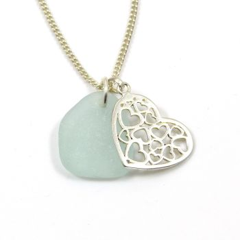 Seafoam Sea Glass and Sterling Silver Filigree Heart Charm Necklace