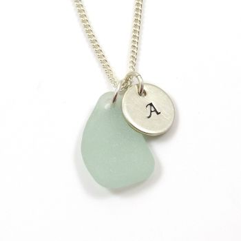 Seafoam Sea Glass and Sterling Silver Initial Disc Necklace