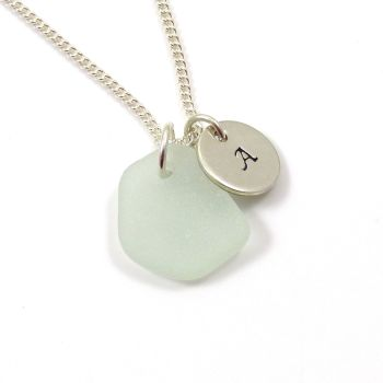 Seamist Sea Glass and Sterling Silver Initial Disc Necklace