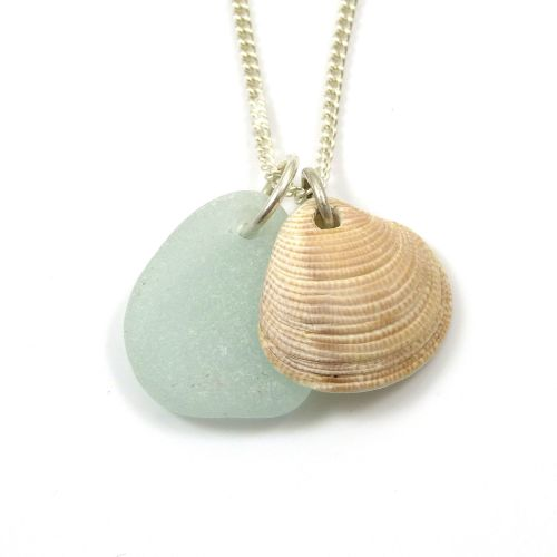 Seafoam Sea Glass and  Seashell Charms on Sterling Silver Chain