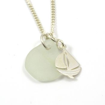 Seamist Sea Glass and Sterling Silver Boat Charm Necklace