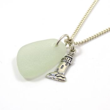 Seamist Sea Glass and Sterling Silver Lighthouse Charm Necklace