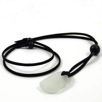 Seamist Sea Glass and Black Faux Suede Adjustable Long Beach Necklace -  Free Postage