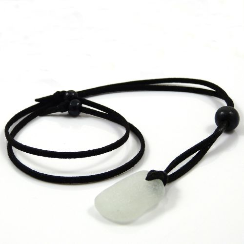 Seamist Sea Glass and Black Faux Suede Adjustable Long Beach Necklace