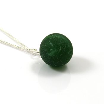 Vintage Hunter Green Sea Glass Marble Necklace