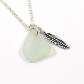 Seamist Sea Glass and Sterling Silver Feather Necklace