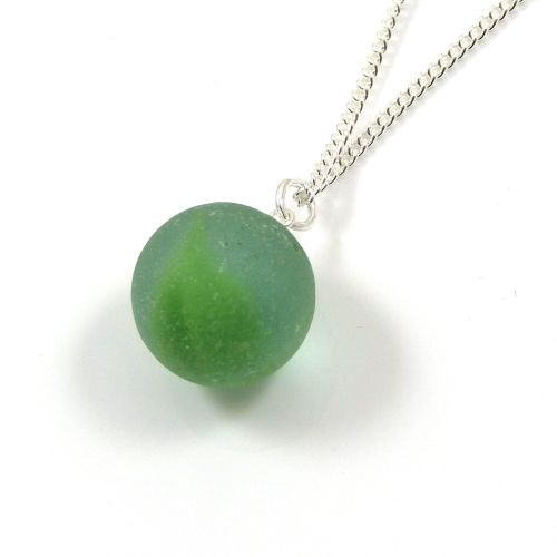 Vintage Sea Green Sea Glass Marble Necklace