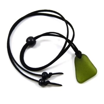 Deep Olive Sea Glass and Black Faux Suede Adjustable Long Beach Necklace