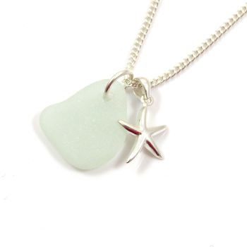 Seamist Sea Glass and Sterling Silver Starfish Necklace