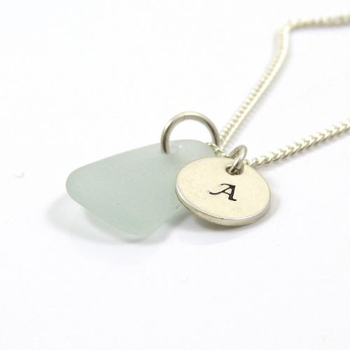Seaspray Sea Glass and Sterling Silver Initial Disc Necklace
