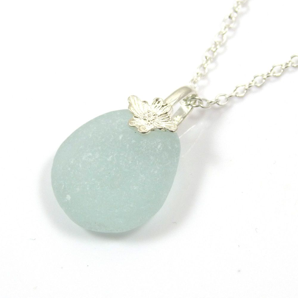 Pale Blue Sea Glass Necklace ADELLE