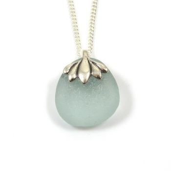 Blue Seafoam Sea Glass Necklace MIRIELLE