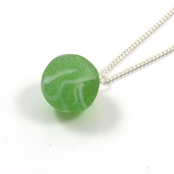 Vintage Spring Green Sea Glass Marble Necklace