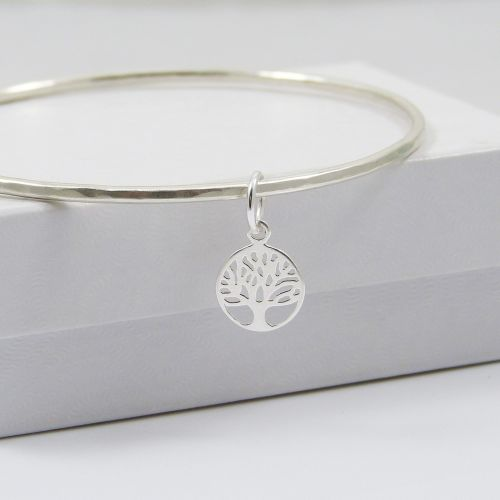 Sterling Silver Hammered Bangle with Tree of Life Charm