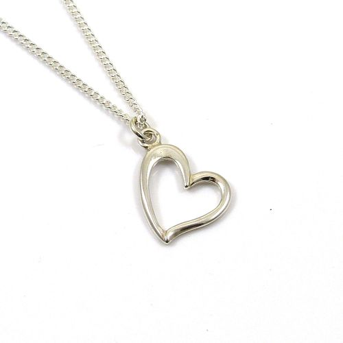Sterling Silver Heart Necklace - Simple - Dainty - Minimalist