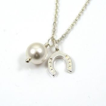 Sterling Silver Horseshoe and Swarovski Pearl Necklace - Simple - Dainty - Minimalist
