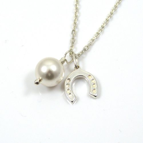 Sterling Silver Horseshoe and Swarovski Pearl Necklace - Simple - Dainty -