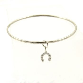 Sterling Silver Hammered Bangle with Horseshoe Charm