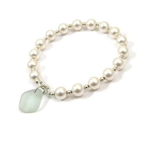 Swarovski Pearl, Sterling Silver and Sea Glass Bracelet