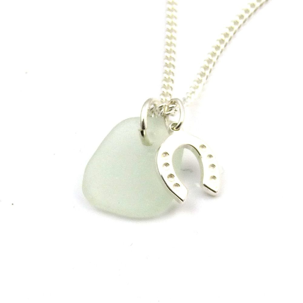 Seafoam Sea Glass, Sterling Silver Horseshoe Charm Necklace