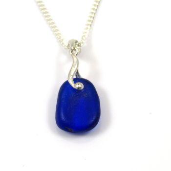 Dark Cobalt Blue English Sea Glass Necklace NATALIE