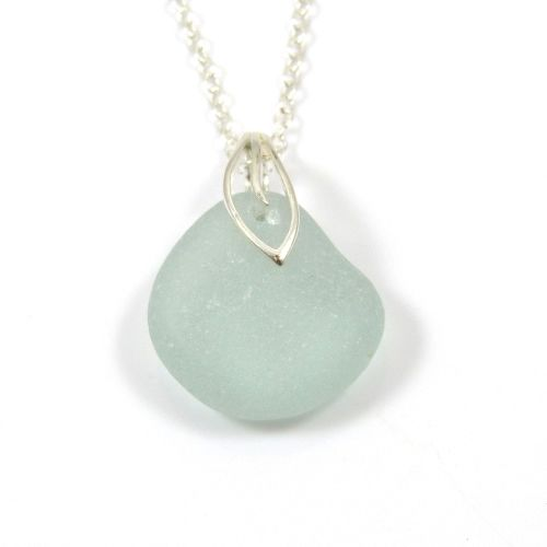 Seafoam Sea Glass Necklace ODILE