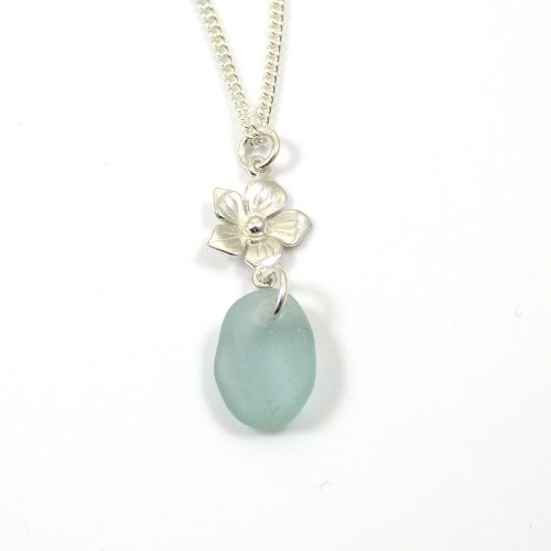 Aqua Sea Glass and Sterling Silver Flower Drop Necklace