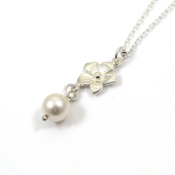 Swarovski White Pearl and Sterling Silver Flower Drop Necklace - Simple - Dainty