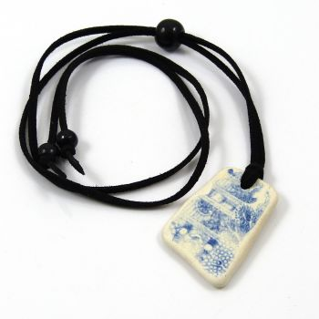 Beach Pottery and Adjustable Faux Suede Necklace