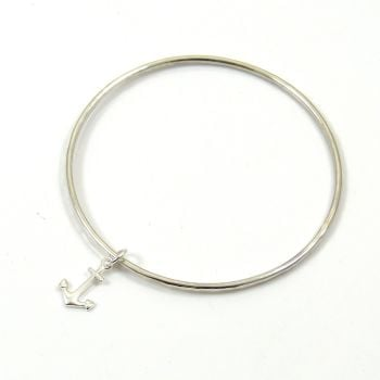 Sterling Silver Hammered Bangle with Anchor Charm