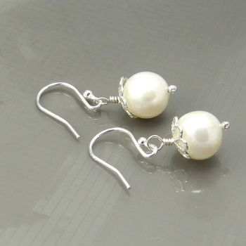 White Swarovski Crystal Pearl Earrings, Bride, Bridesmaid
