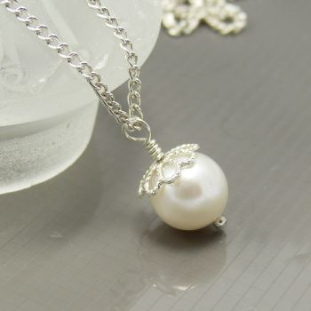 White Swarovski Crystal Pearl Necklace, Bride, Bridesmaid