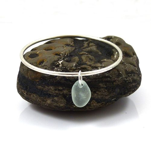 Sterling Silver Hammered Bangle with a Pale Aquamarine Sea Glass Charm