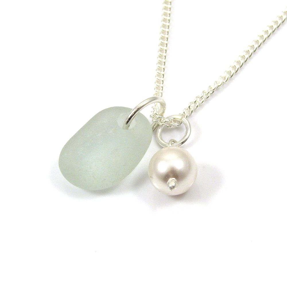 Seaspray Sea Glass and Swarovski Crystal Pearl Necklace