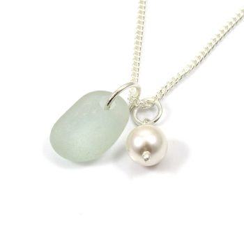 Seafoam Sea Glass and Swarovski Crystal Pearl Necklace