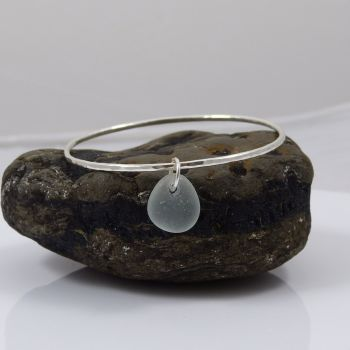 Sterling Silver Hammered Bangle with Seafoam Sea Glass Charm