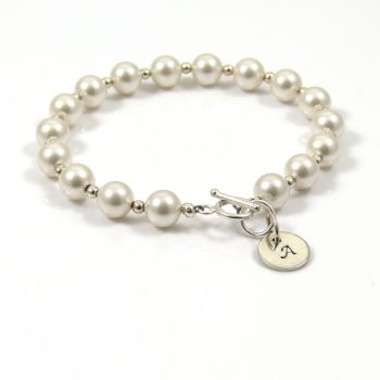 Swarovski Pearl and Sterling Silver Initial Disc Bracelet - FREE Delivery