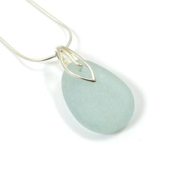 Glacier Blue Sea Glass Necklace MINNA