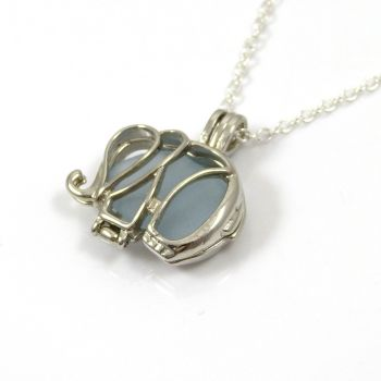 Pale Sky Blue Sea Glass Elephant Locket Necklace