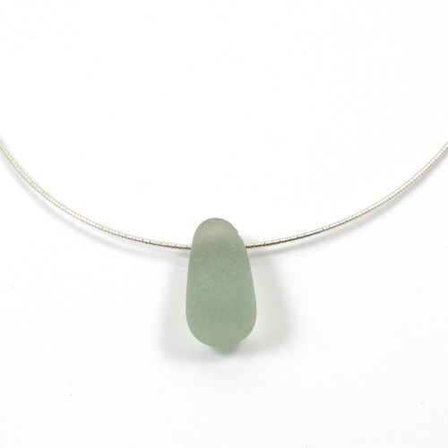 Seafoam Floating Sea Glass Necklace - LILI