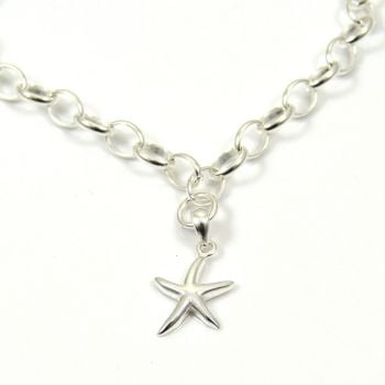 Sterling Silver Bracelet with Silver Starfish Charm - FREE Delivery