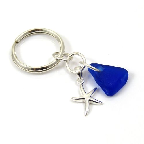 Sterling Silver Key Ring | Cobalt Blue Sea Glass | Starfish Charm | Beach A