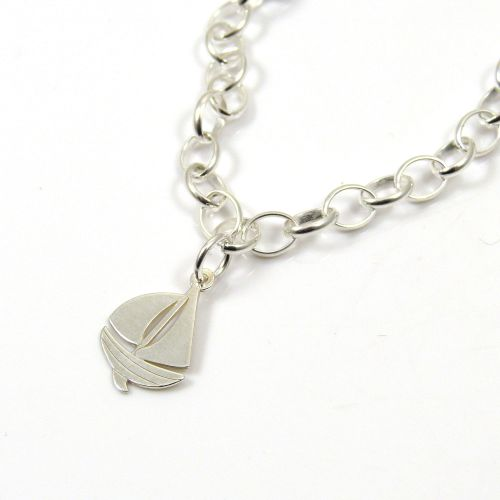 Sterling Silver Bracelet with Silver Sailing Boat Charm