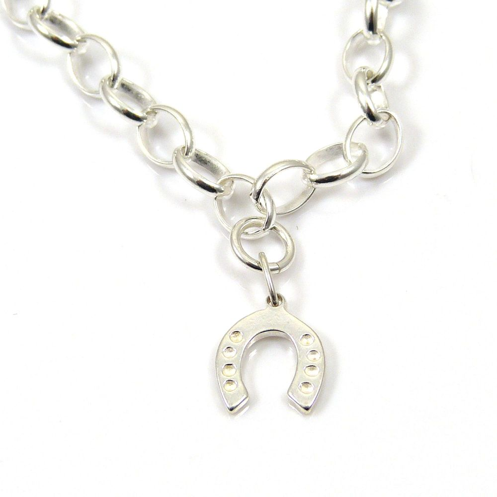 Sterling Silver Bracelet with Silver Horseshoe Charm