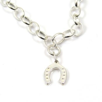 Sterling Silver Bracelet with Silver Horseshoe Charm - FREE Delivery