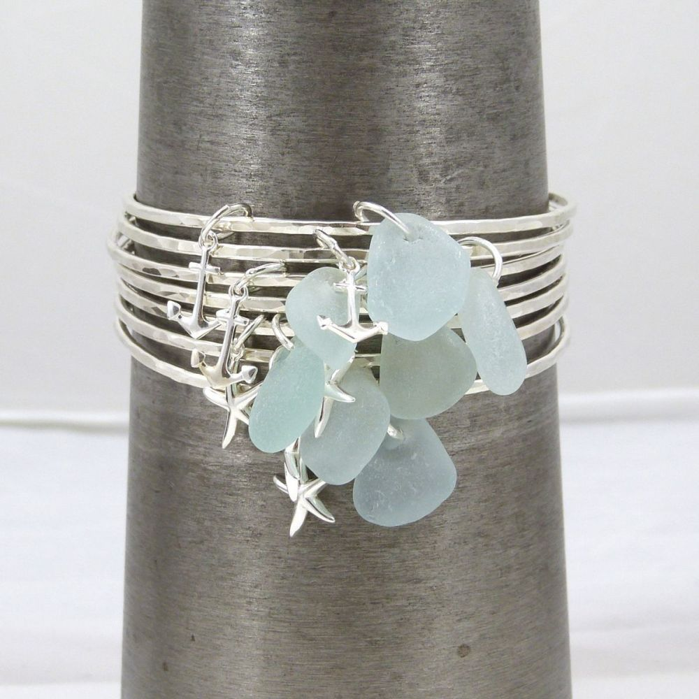seven sterling silver and sea glass bangles 4x4