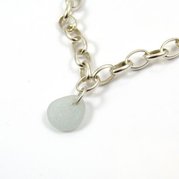 Seaspray Sea glass and Sterling Silver Bracelet 7mm links - FREE Delivery