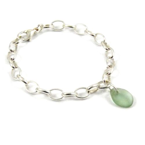 Sage Green Sea Glass and Sterling Silver Chunky Bracelet