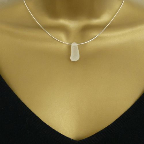 Snow White Sea Glass Floating  Necklace - MILLIE
