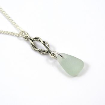 Seafoam Blue Sea Glass and Sterling Silver Twisted Rope Drop Necklace